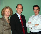 Emily with Steven Colbert and ACLU Executive Director Anthony Romero